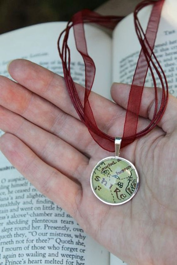 Lord of the Rings Shire Map Glass and Silver pendant with free organza necklace