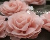 Pink Chiffon Flower Peony Flower Bridal Sash For Headwear Decor Fashion Costume 2pcs