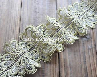 Gold Lace Trim Gorgeous Baroque Crocheted Lace Trim Antique Eyelash Lace 3.14 Inches Wide 1 Yard Wedding Dress Costumes Supplies