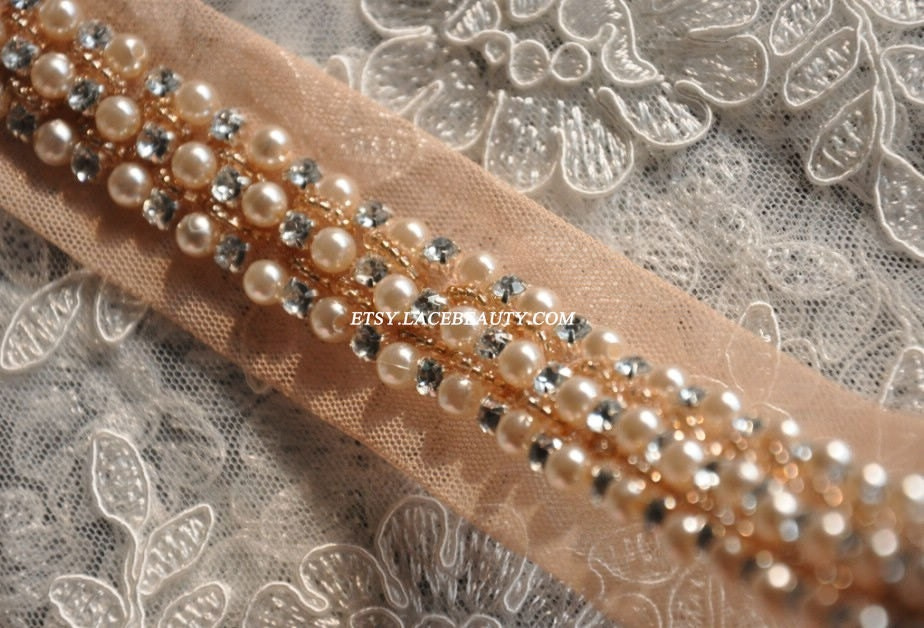 beaded lace trim pearl rhinestone beaded trim 1 yard by