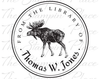 Personalized Custom Stamp - Moose / Library - PK300