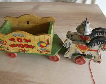 Fisher Price Toy Wagon, Horse with Cart, Fisher Price, Pull Toy, 171