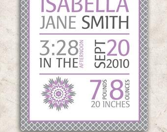 Dahlia Baby GIrl Nursery Wall Art - Purple Grey Birth Stats Poster -  PRINT