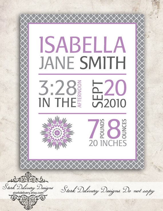 Items Similar To Dahlia Baby GIrl Nursery Wall Art Purple Grey Birth Stats