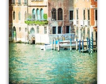 "Venice Architecture Photography, Italy photos, teal green, mint decor, Venice decor, Venice canals - ""La Canal"" - Fine Art Photograph"