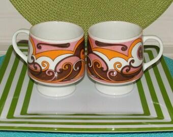 Mad Men Inspired Vintage Retro Mid Century Coffee Mug Drink Glasses Set 1960s