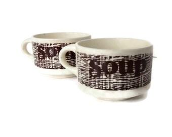 SALE 30% OFF - Pair of Rad Retro Woodgrain Print Soup Cups