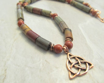 Mens Beaded Picasso Jasper & Celtic Copper Knot Pendant Necklace with Red Jasper