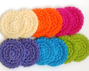 Crochet Scrubbies - Set of 12 - For Kitchen or Bathroom - Rainbow Colors - 100% Cotton