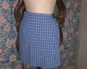 Size 6 mini wrap skirt Ready to Ship Blue Cotton Plaid Mini Wrap Skirt