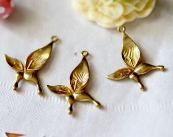 10pcs 15x23mm Brass Color  Metal  Flower Pendant