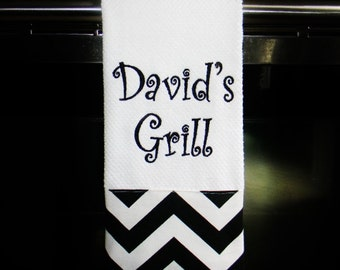 Personalized Kitchen Towel or Hand Towel- Black and White