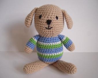 Crocheted Stuffed Amigurumi Sitting Dog with Striped Shirt