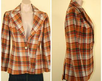 Vtg Vintage 60s 70s Mod Hippie Hipster Plaid Wool Jacket Blazer size S M