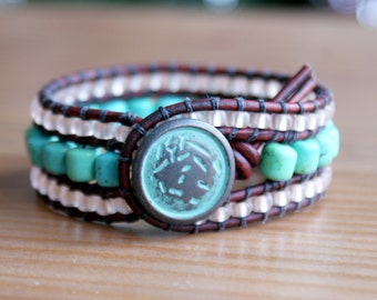 Beaded Leather cuff, bohemian bracelet , Shabby chic, patina, brown, green, blue Turquoise, mint, trendy jewelry, hipster
