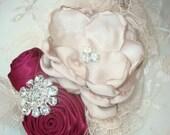 Burgundy and Light Taupe Rosette Flower Headband, Baby Girl Flower Headband, Infant Headband, Newbron Headband