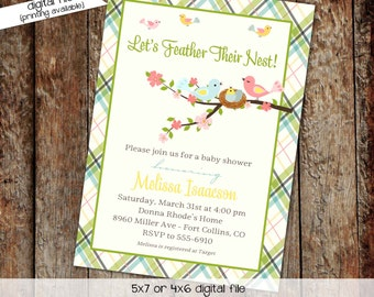 gender neutral baby shower invitation feather their nest sprinkle sip and see couples coed plaid diaper (item 1408) shabby chic invitations