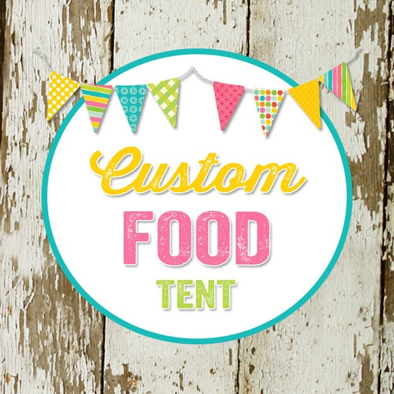 FOOD TENT to match any design for baby shower or party, digital, DIY printable file