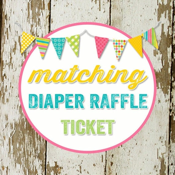 DIAPER RAFFLE TICKET digital and printable file created to match your chosen invite