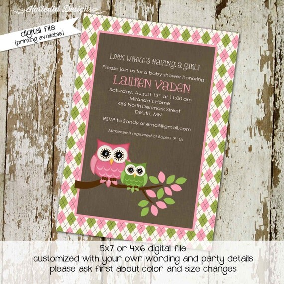 owl baby shower invitation owl first birthday baby girl shower argyle couples shower book baby invite (item 1331) shabby chic invitations