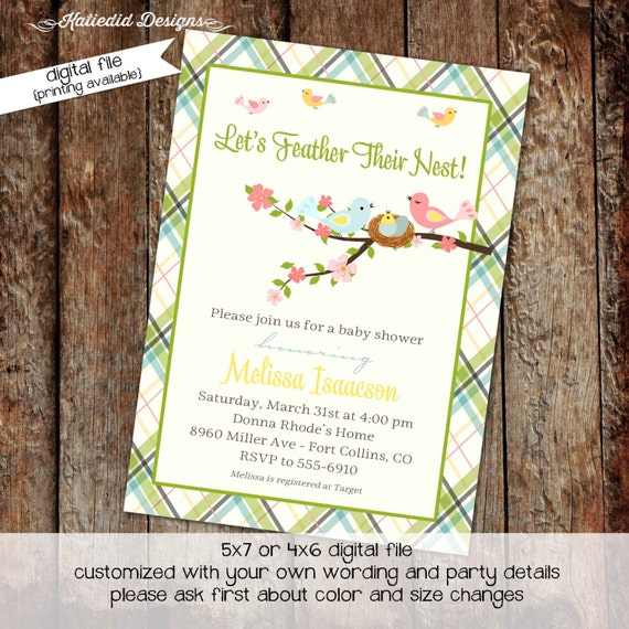 Surprise Gender reveal co-ed baby shower baby sprinkle invitation floral chic invite pastel green plaid baby bird nest 1408 Katiedid designs
