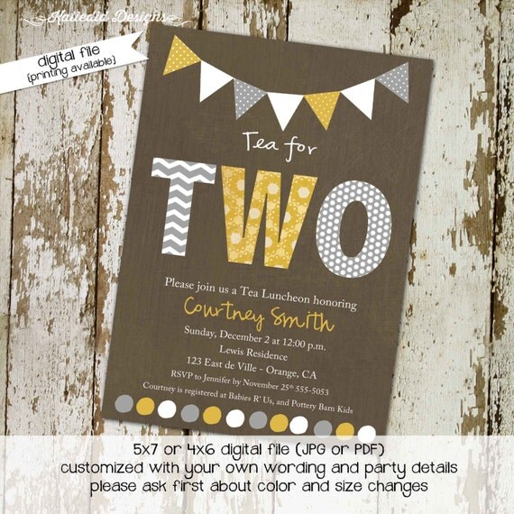 kraft paper rustic chic twins shower invitation co-ed baby shower diaper wipe brunch yellow gray bunting banner gay 1511 katiedid designs