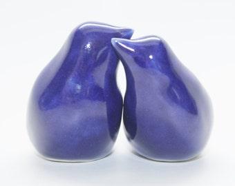 Dark Blue Wedding Cake Topper Birds, Custom Made and Stamped, Porcelain Handmade Love Birds