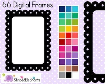 Dotted Scalloped Rectangle Digital Frames - Clip Art Frames - Instant Download - Commercial Use