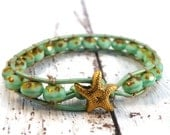 Mint Golden Starfish Wrap Bracelet with Czech Beads/ Minty Fresh/ Limited Edition/ Boho Elegant Chic/ St. Patricks Day