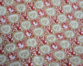 Red and Gold  and White  Material With Hearts and Doves