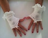 White mercerised cotton Ladies knitted wedding wristwarmers -  fingerless gloves - wristers - mittens - mits