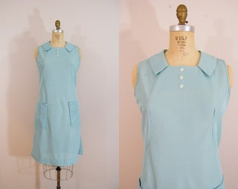Vintage 1960s Blue Shift Dress / Sleeveless