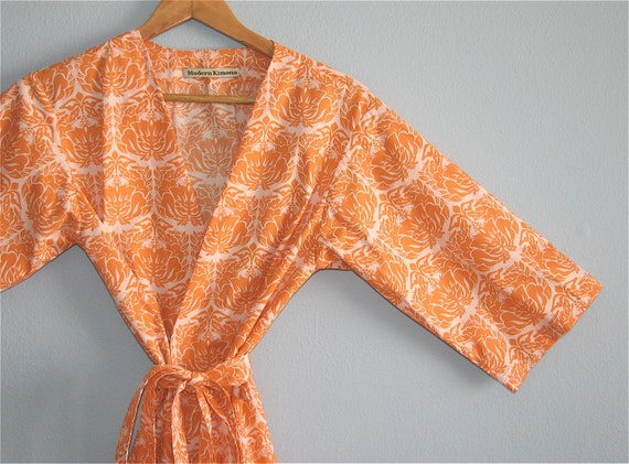 SALE. S-L. Kimono Robe. Bridal Party Robe. Dressing Gown. Maternity  Robe. Orange and Pink Sherbert. Knee Length. Only One Left.