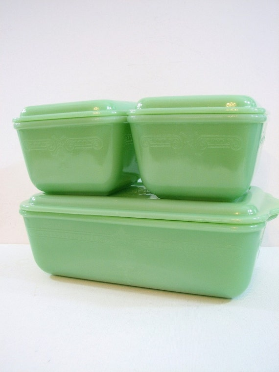 Fire King PHILBE Embossed Jadeite Refrigerator Dish Set, Jadite Green ... Fridge Box Set, Complete Set of 3, Antique