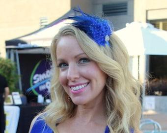 Royal blue wedding hair fascinator royal blue feathers head band bridal hair