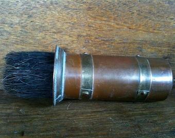 Vintage English Brass Copper Fireplace Fireside Brush circa 1940's / English Shop