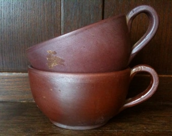 Vintage English pair large brown hot chocolate coffee cocoa cups circa 1960's / English Shop