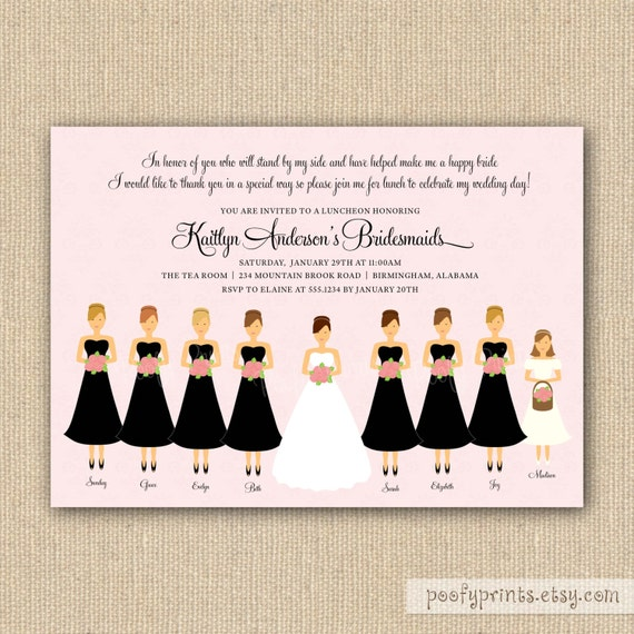 Bridesmaids Luncheon Invitation    Printable By Poofyprints