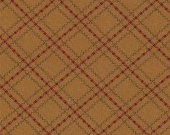 "LAST PIECE 10"" of Sweet Pea Zigzag Plaid Gold by Kansas Troubles for Moda"