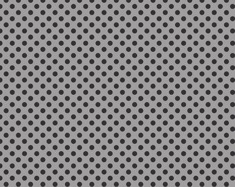 BLACK Small Dots Tone on Tone Black on Grey by Riley Blake