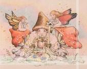 Faery Shroom Tea Party-whimsical fairy fantasy childrens vintage nature woodland illustration