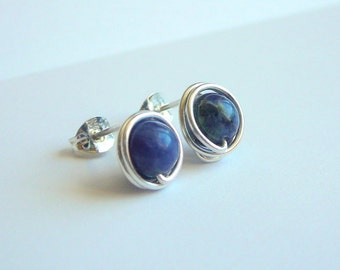 Blue Sodalite gemstone post earrings - 9mm Serling silver handmade stud earrings - Healing stone - Free shipping to CANADA and USA