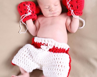 Baby boxer set, baby boxing prop, newborn photo prop, crochet baby boxing gloves set, newborn prop, photo prop, baby shower gift