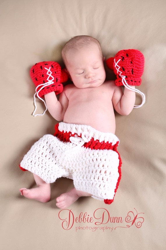 Baby boxer set, crochet baby boxing gloves set, newborn prop, photo ...