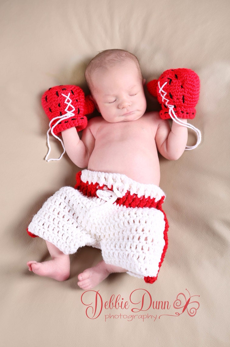 Baby Boxer Set Baby Boxing Prop Newborn Photo Prop Crochet