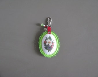 SALE - green floral bag charm - garden lover green floral bag charm or keychain - mothers day gift - garden lover gift - floral bag charm