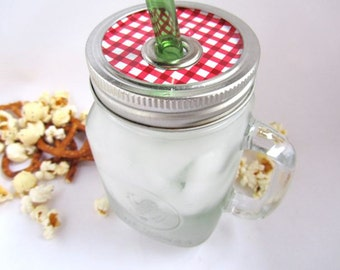 Checkered Lid Handle Mason Jar To Go Cup with Glass Straw- 16 oz