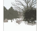 It Is Snowing, Snowy Tree Landscape, White Christmas, Home&Living , Peaceful / Modern / Monochromatic / Graphic Landscape, FREE SHIPPING USA