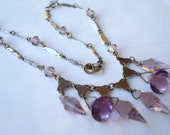Art Deco Czech Necklace Amethyst Purple Glass 1920's 1930's