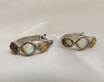 Vintage Silver and Glass Earrings